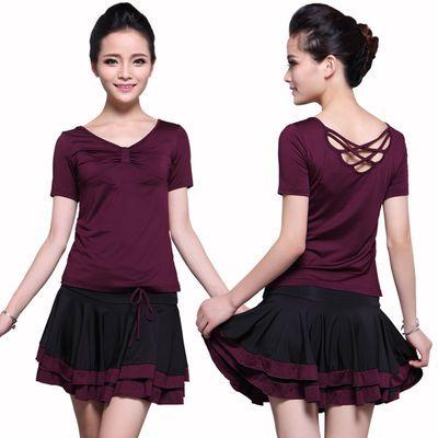 夏季广场舞服装新款短袖裙子套装成人女拉丁舞短裙跳舞蹈演出服