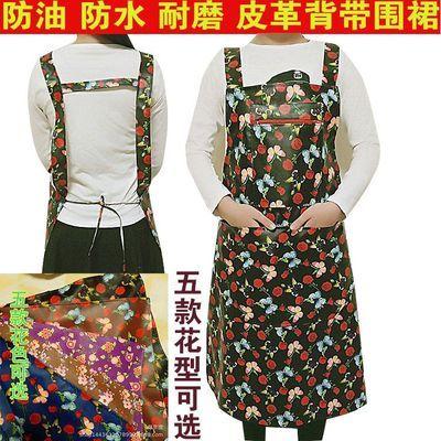韩版成人背带男女皮革围兜加厚PU皮围裙防水防油工作家务厨房围腰