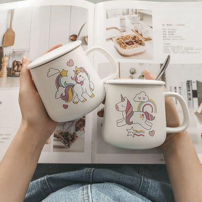可爱马克杯带盖勺男女学生陶瓷杯子韩版闺蜜情侣咖啡早餐水杯家用