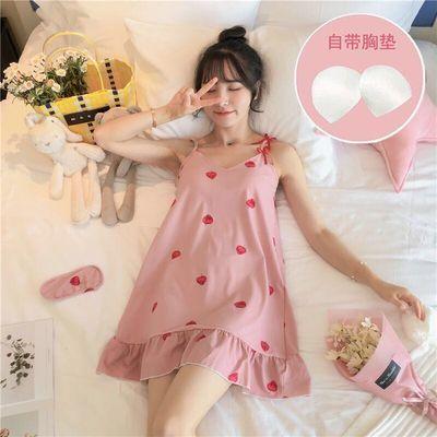 新款吊带睡裙女夏季带胸垫清新可爱学生韩版性感睡衣可外穿家居服