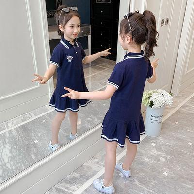女童连衣裙2020新款夏装儿童洋气学院风裙小女孩时髦短袖polo裙子