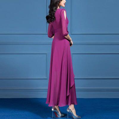 夏装2020新款女气质优雅紫色灯笼袖收腰拼接雪纺过膝大摆连衣裙潮