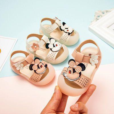 宝宝婴儿学步鞋软底防滑0-1-3女童公主鞋幼儿包头凉鞋春夏季新款