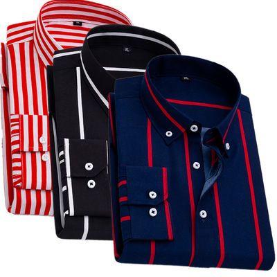 夏季薄款男士长袖衬衫韩版修身中年爸爸休闲中青年人印花条纹衬衣
