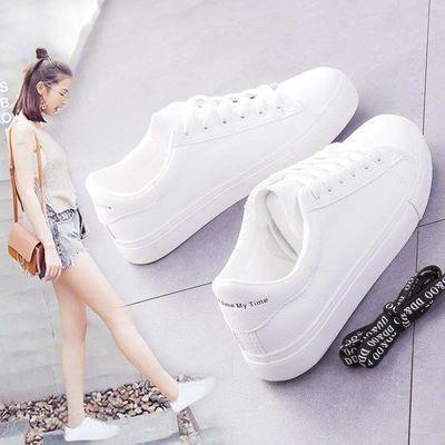 只限今天2020春夏新款小白鞋女百搭韩版学生平底系带白鞋板鞋