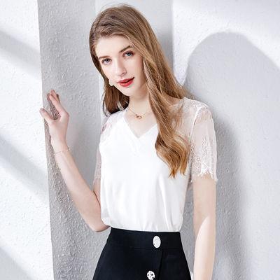 时然女式短袖蕾丝t恤2020年夏新品潮V领蕾丝拼接半截袖打底上衣女