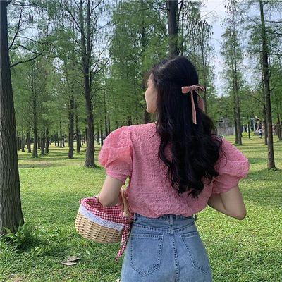 【好质量】实拍夏季新款甜美公主风圆领套头上衣女泡泡短袖雪纺衫