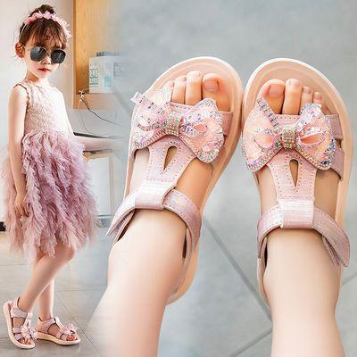 女童凉鞋公主鞋亮钻舞蹈鞋2020夏季童鞋新品中大童女孩水晶鞋上线