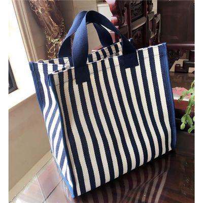 韩版帆布单肩妈咪包手提袋学生大容量蓝条纹购物袋便当包女休闲包