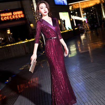 酒红色晚礼服女2020新款春季长款高贵气质宴会高端大气鱼尾连衣裙