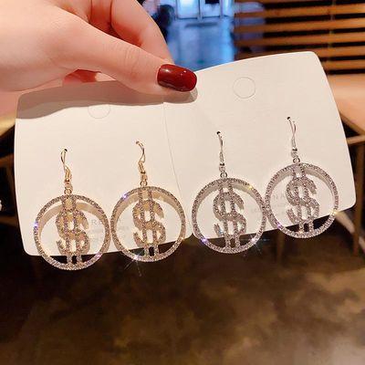 925银针个性气质美设计感耳环时尚百搭耳钉微镶圆形闪钻耳坠耳饰