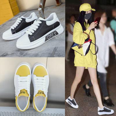 2020春款真皮小白鞋女百搭休闲学生韩版厚底显瘦增高透气运动女鞋
