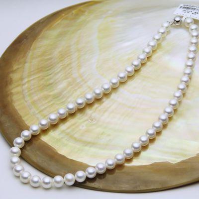 绍河珍珠项链 母亲节礼物 淡水珍珠白色颈链 8-9mm短圆 正品保证