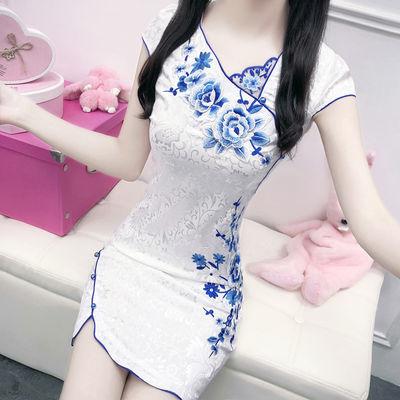 【好质量】夏季新款女旗袍少女风甜美短款修身日常旗袍夏季连衣裙