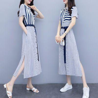 2020新款女装夏修身高腰中长款衬衣连衣裙女条纹拼接短袖衬衫长裙