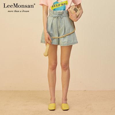 LeeMonsan/�I�19夏新高腰牛仔短裤显瘦纸袋裤花苞裤女夏CS18070