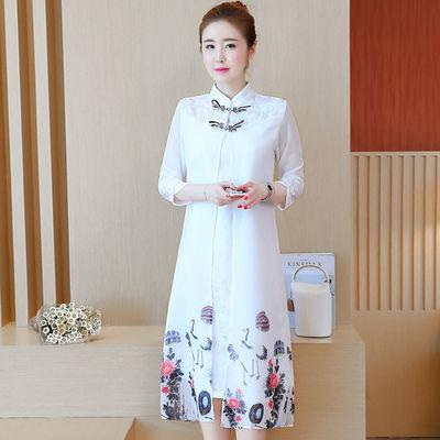 小清新件套上海旗袍连衣裙妈妈穿2020年春季滩褶裙现代笼袖唐装风