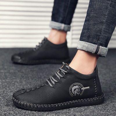 英伦皮鞋春季透气高帮鞋子男士中邦复古大码低帮系带休闲鞋豆豆鞋