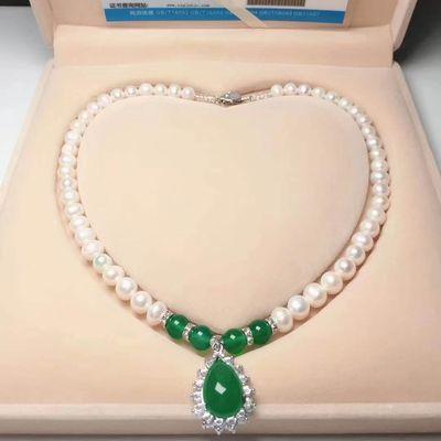 母亲节礼物 925银插扣镶玉玛瑙天然淡水珍珠项链女士气质珍珠吊坠