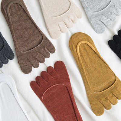 五指袜女夏季船袜分趾袜防臭隐形纯棉浅口短袜女士底硅胶防滑薄款