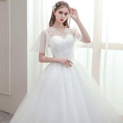 主婚纱礼服2020新款韩版新娘一字肩婚纱修身显瘦森系蕾丝抹胸婚纱