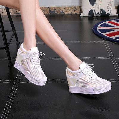 夏季内增高小白鞋女8cm女鞋2020新款网面网鞋镂空透气运动休闲鞋