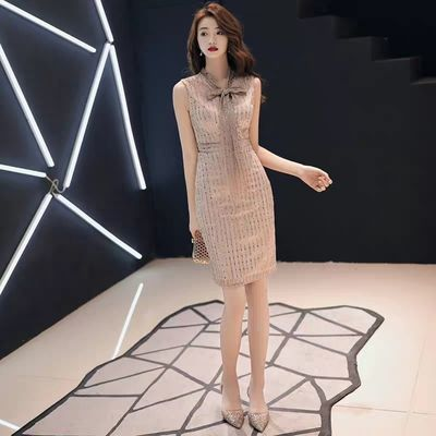 宴会小晚礼服2020新款高贵性感气质名媛生日短款连衣裙女平时可穿