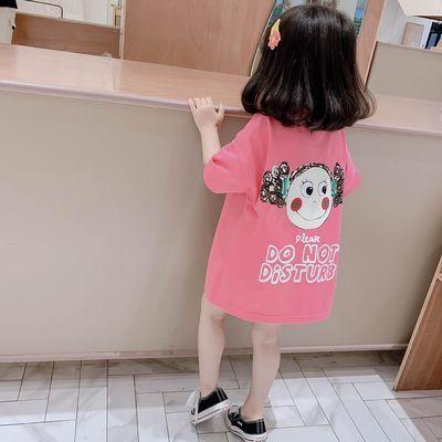 女童短袖T恤裙2020夏装新款韩版洋气宝宝中长款上衣儿童卡通短袖