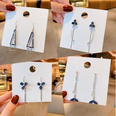 925银针蓝色个性耳环女长款气质网红韩国简约耳坠高级感小众耳饰