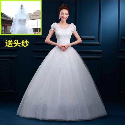 轻婚纱礼服2020新款女一字肩显瘦大码齐地简约森系蓬蓬裙冬季婚纱