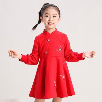 布布发现童装女童旗袍冬季新品毛呢中国风绣花连衣裙儿童改良唐装