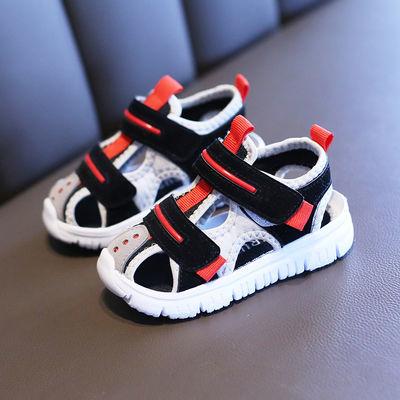 儿童凉鞋女宝宝夏季拼色学步鞋男童机能鞋婴幼儿鞋子软底包头布鞋