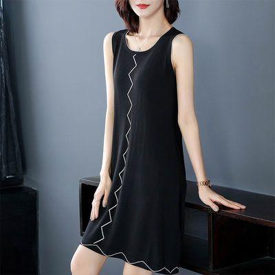 2020夏新款连衣裙大码女装冰丝针织裙中长款夏季气质显瘦宽松遮肉
