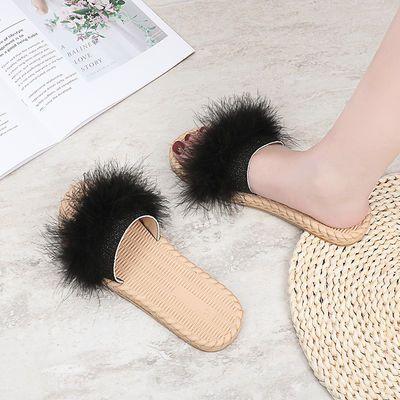 2020夏季新款毛毛拖鞋女防滑平底一字拖韩版时尚百搭网红凉拖外穿