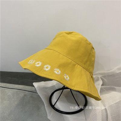 韩国防唾沫面罩渔夫帽女百搭遮阳帽子双面戴小雏菊防晒盆帽夏款