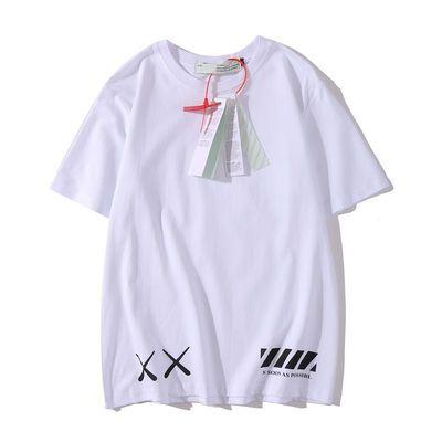 芝麻街kaws联名OFF WHITE短袖街头宽松男女T恤情侣装半袖tee
