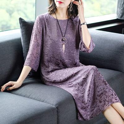 新品特卖2020新款仿真丝连衣裙紫色气质阔太太洋气高贵裙子仿桑蚕