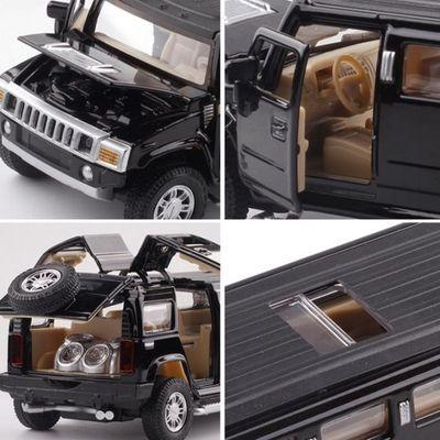 1:32悍马加长版合金小汽车模型声光回力可开门儿童玩具生日礼物