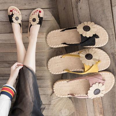 新款夏季外穿女人字拖鞋亚麻花朵鞋2公分网红浪漫度假沙滩凉拖鞋