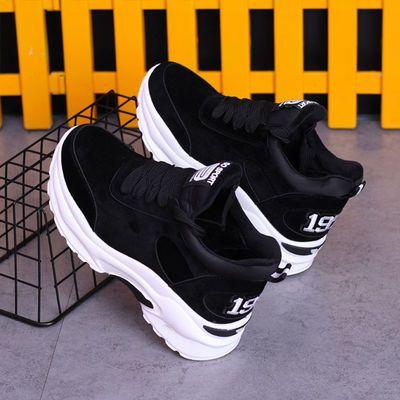新品特卖老爹鞋女2020新款小黑鞋女厚底学生韩版内增高女鞋网红韩