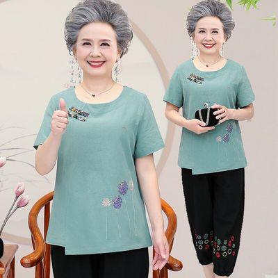 孝珍老年女装夏装T恤短袖套装女奶奶装夏薄款圆领浅蓝色套装2XL