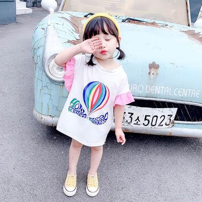 女童体t恤3岁女宝宝中长款洋气短袖夏季0夏装1儿童夏款2小童上衣4