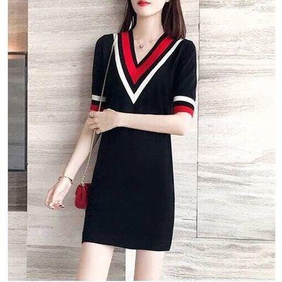 韩版连衣裙女夏针织条纹大码宽松直筒中长款遮肚显瘦连衣裙女单裙