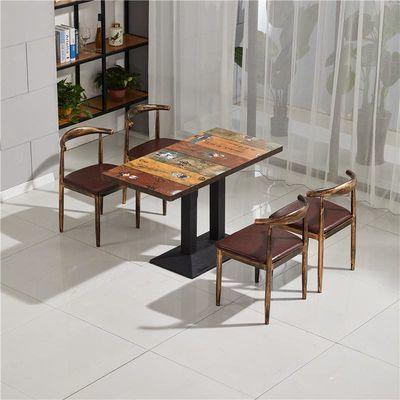 主题快餐桌椅组合小吃店食堂咖啡厅桌椅简易饭店经济型甜品店餐桌
