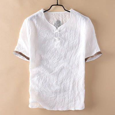 中国风复古男装亚麻T恤男士短袖宽松大码休闲盘扣麻料棉麻上衣薄
