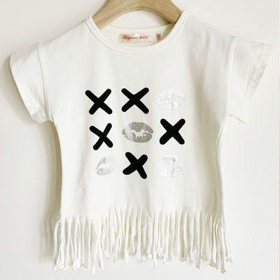 2020儿童短袖T恤宝宝流苏夏装女童上衣潮童韩版婴儿纯棉夏季小童