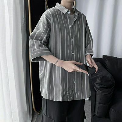 短袖衬衫男夏季新品条纹港风休闲男装上衣2020新款潮流条纹衬衫男
