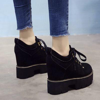 新品特卖2020春季新款松糕鞋内增高女鞋12CM超高跟单鞋百搭英伦粗