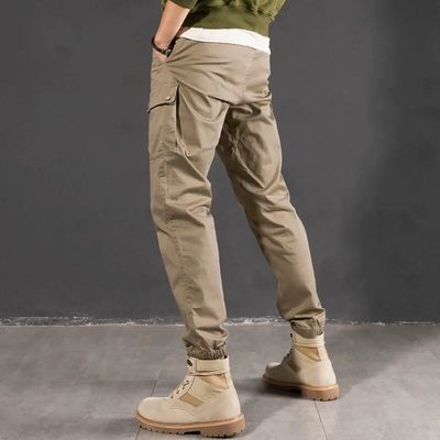 夏季韩版潮流男士工装裤 潮牌卡其色修身裤子 弹力多袋休闲束脚裤