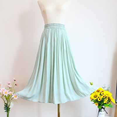 包邮实拍超仙口袋款半身裙女春夏韩版雪纺裙学生新款浅绿色中长裙
